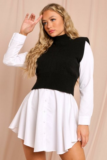 Black Knitted Shoulder Pad Detail High Neck Top