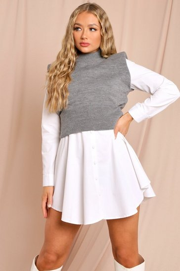 Charcoal Knitted Shoulder Pad Detail High Neck Top