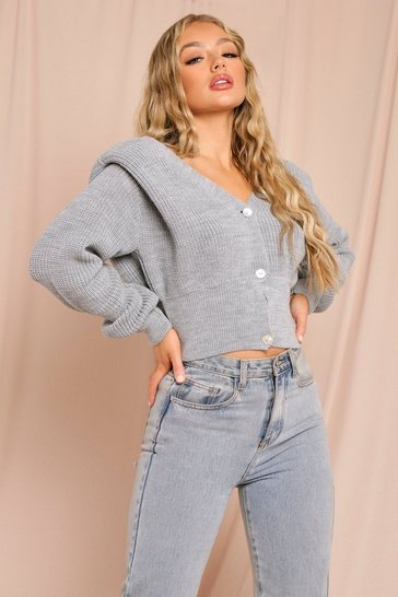 Grey Shoulder Pad Detail Cropped Cardigan