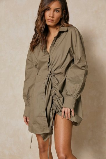 Khaki Ruched Front Shirt Dress