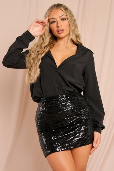 Black Sequin Ruched Front Mini Skirt