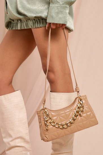 Nude Leather Look Chain Detail Bag