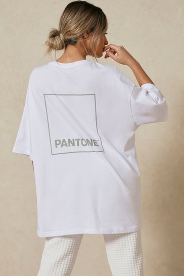 White Drop Shoulder Pantone Back Print T Shirt