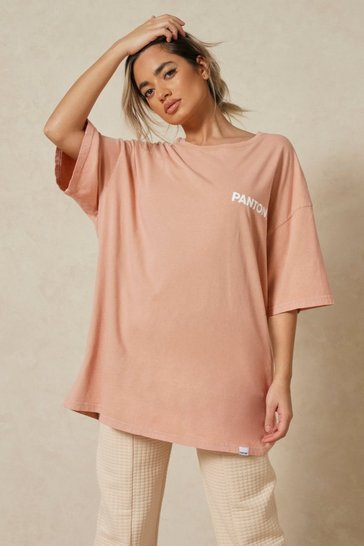 Brown Pantone Acid Wash Oversized T Shirt