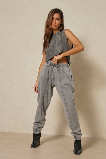 Black Acid Wash Pin Tuck Cuff Jogger
