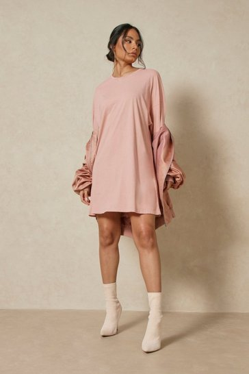 Rust Oversized Acid Wash T Shirt Dress