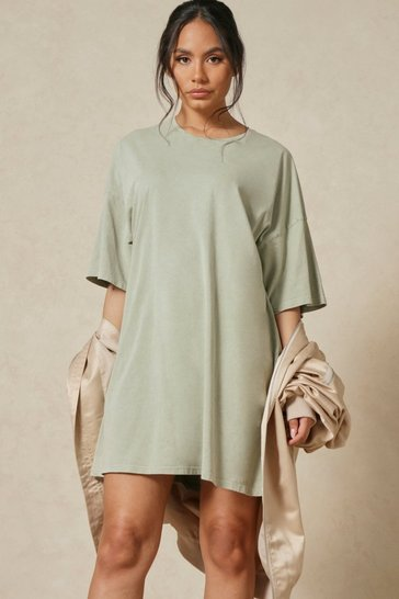 Sage Oversized Acid Wash T Shirt Dress