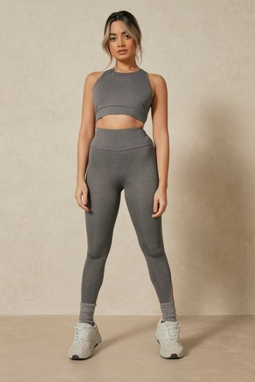 Grey Seamless Mesh Panel Bra Top And Leggings Set