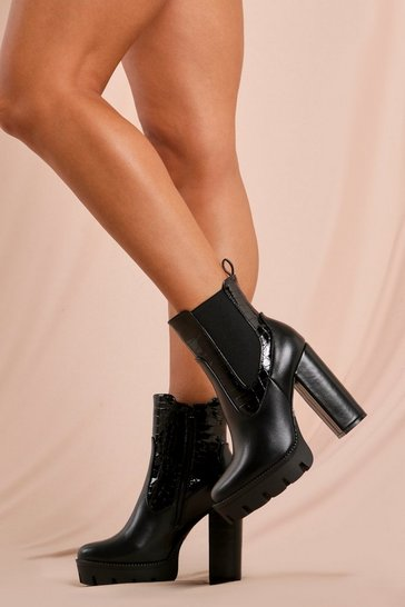 Black Croc Detail Chunky Platform Ankle Boot