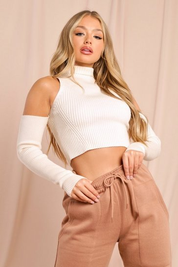 Beige Cut Out Shoulder Jumper