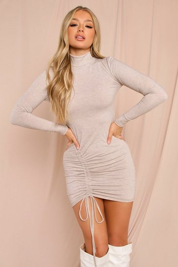 Oatmeal Contour Side Ruched Detail Mini Dress