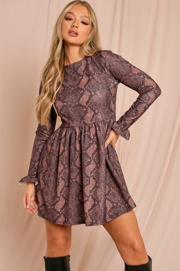 Chocolate Snake Long Sleeved Smock Dress