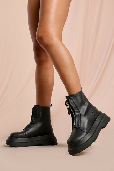Black Zip Front Platform Sole Ankle Boots