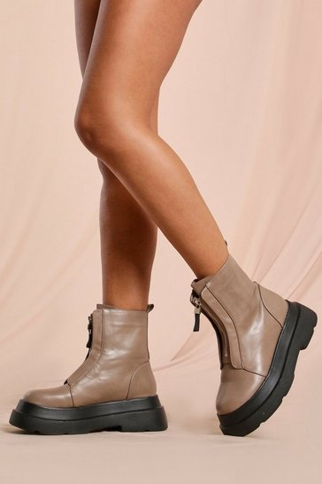 Nude Zip Front Platform Sole Ankle Boots