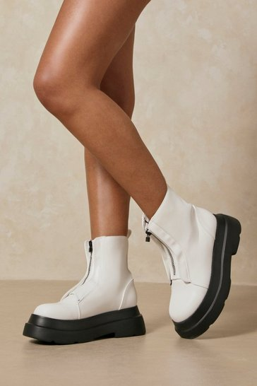 White Zip Front Platform Sole Ankle Boots