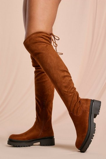 Camel Faux Suede Over The Knee Chunky Boots