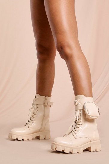 Cream Pocket Detail Lace Up Chunky Ankle Boot
