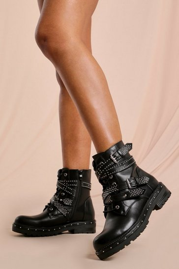 Black Stud Detail Wrap Ankle Boots