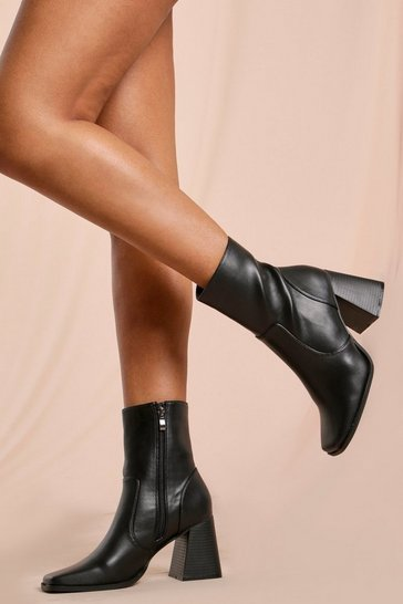 Black Square Toe Ankle Boot