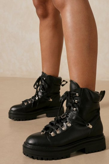 Black Faux Leather Lace Up Hiker Ankle Boot