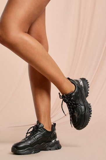 Black Chunky Metallic Detail Trainers