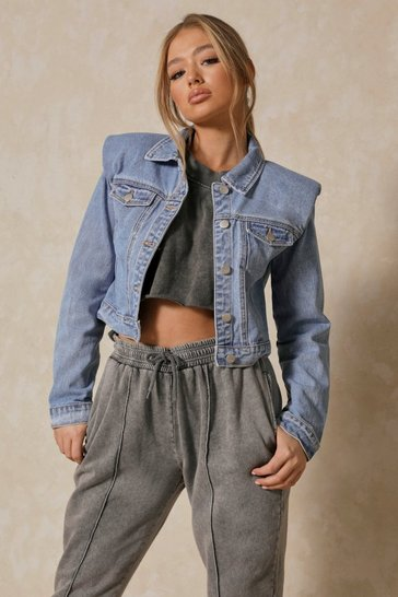 Blue Padded Shoulder Denim Jacket