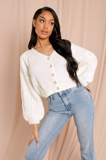 White Knitted Balloon Sleeve Cardigan