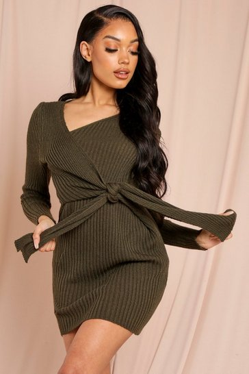 Khaki Tie Front Ribbed Knitted Dress