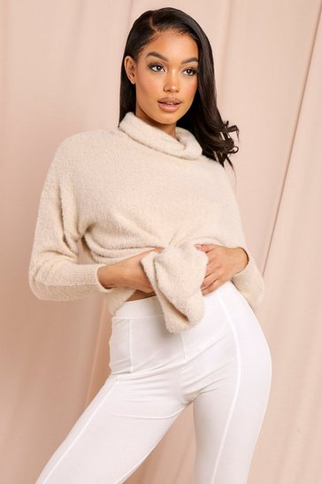Beige Cosy Knit High Neck Oversized Jumper