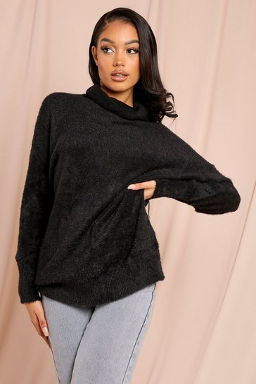 Black Cosy Knit High Neck Oversized Jumper