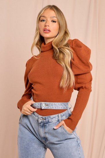 Brown Knitted Turtle Neck Puff Sleeve Jumper