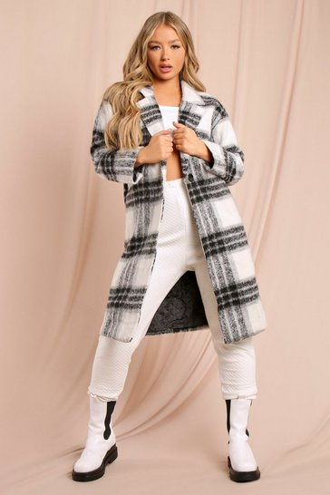 Black Oversized Checked Coat