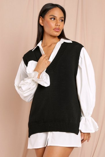 Black Tia V Neck Knitted Sleeveless Jumper