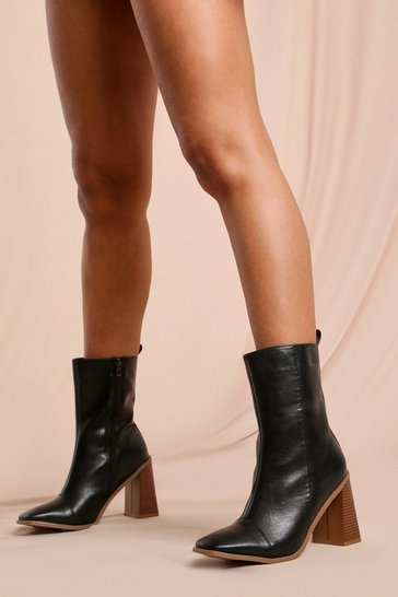 Black Leather Look Contrast Heel Ankle Boot