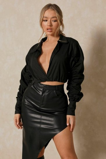 Black Popplin Ruched Sleeve Shirt
