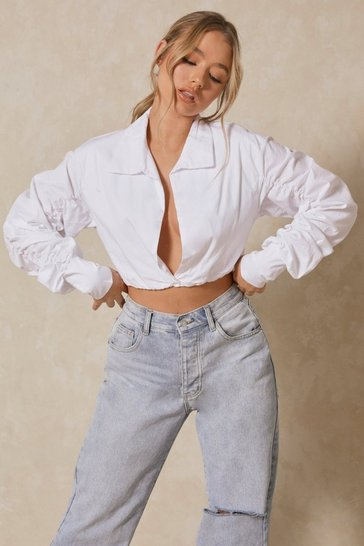 White Popplin Ruched Sleeve Shirt