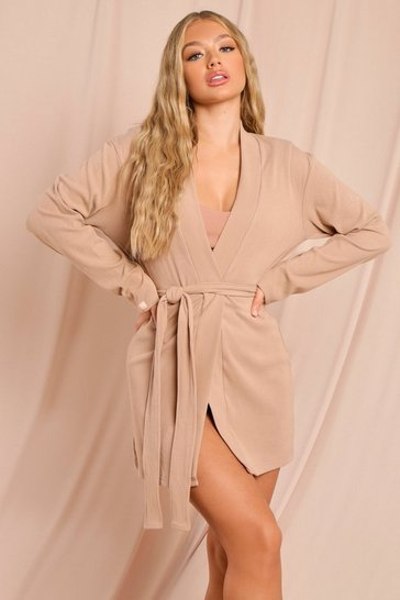 Camel Misspap Label Brushed Rib Robe