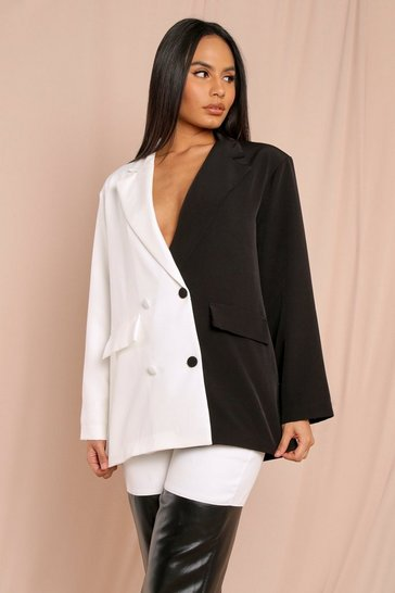 Black Oversized Colour Block Blazer
