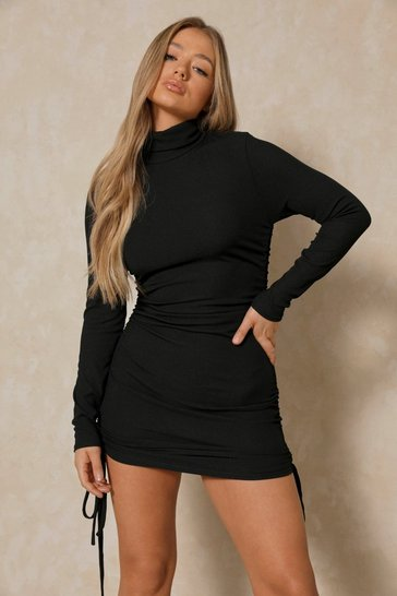 Black High Neck Ruched Side Rib Mini Dress