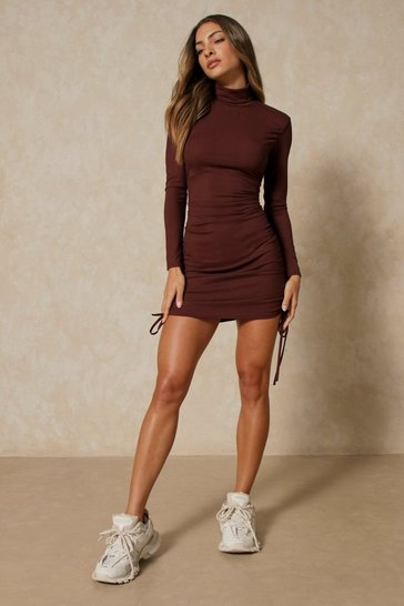 Chocolate High Neck Ruched Side Rib Mini Dress