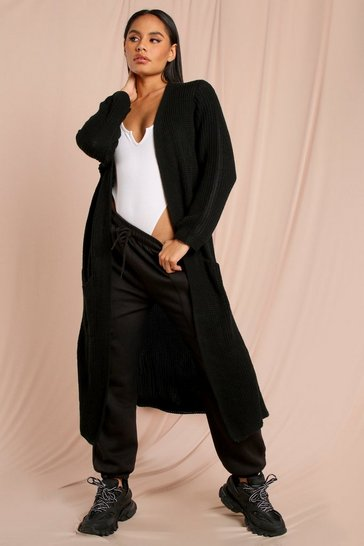 Black Oversized Chunky Knit Maxi Cardigan