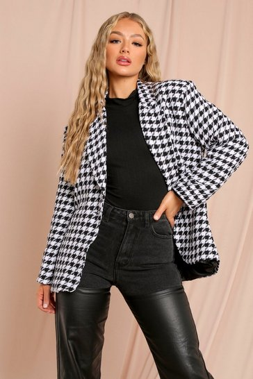 Black Oversized Dogtooth Blazer