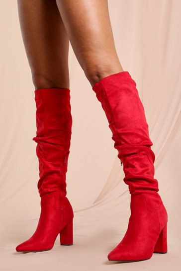 Red Faux Suede Ruched Knee High Boots