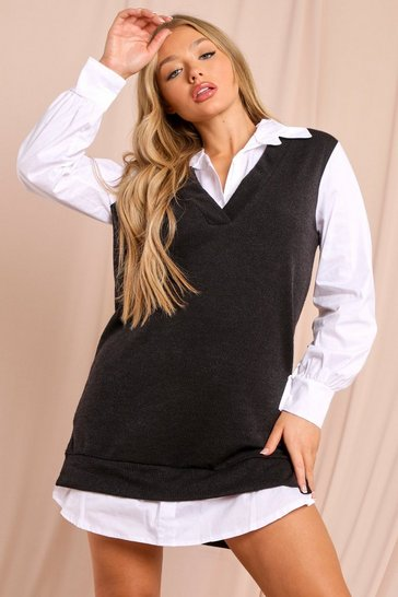 Black Two In One Shirt And Knitted Vest