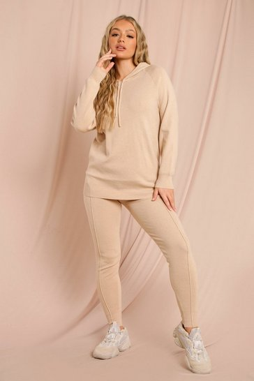 Beige Knitted Lounge Set With Seam Detail Jogger