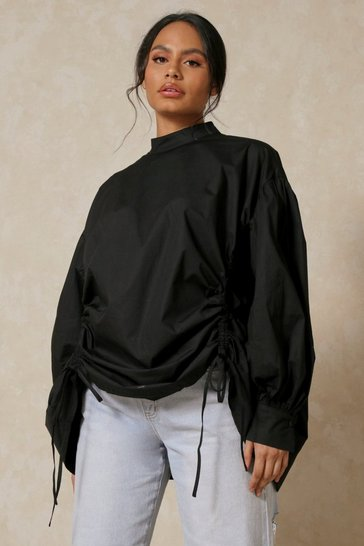 Black High Neck Ruched Front Shirt