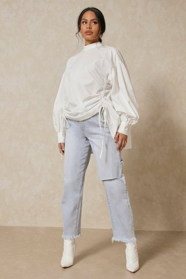 White High Neck Ruched Front Shirt