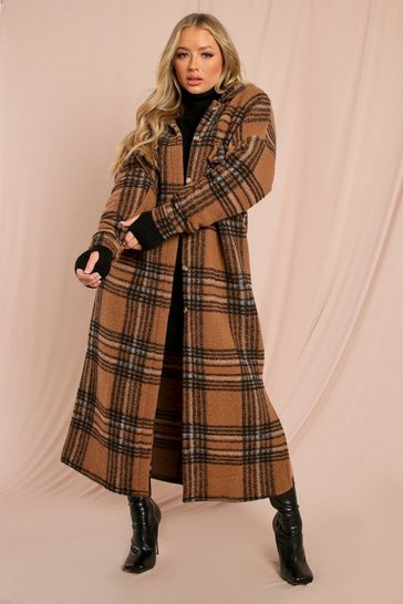 Brown Oversized Longline Checked Shacket