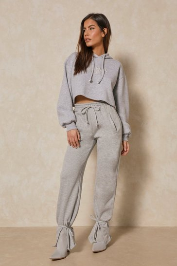 Grey Oversized Split Front Ankle Tie Jogger