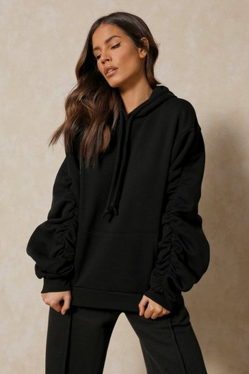 Black Oversized Ruched Arm Hoodie
